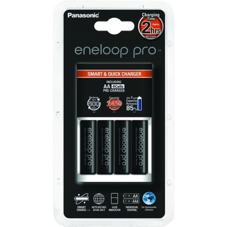 ENELOOP Pro Battery Pack with 4 AA Batteries and Charger 2450mAh